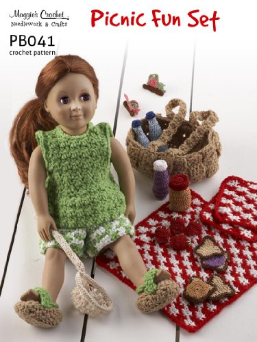 Crochet Pattern Picnic Set PB041-R - Paid and Free Crochet Patterns for 18-inch Dolls Like the American Girl Doll