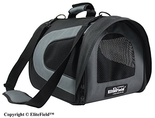 EliteField Deluxe Soft Pet Carrier (3 Year Warranty, Airline Approved), Multiple Sizes and Colors Available (18″L x 10″W x 11″H, Black+Gray)