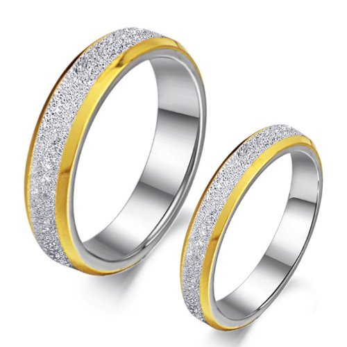 Lover's Stainless Steel Wedding Ring for Couple Promis Ring Anniversory Ring Matte Sandblast Finish with Gold Trim, Men's 7