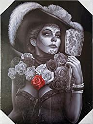 DGA Day of the Dead Great Dame of Death Stretched Wood Frame Canvas Wall Art 12x16 Inches - Catrina