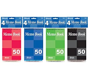 "BAZIC 50 Sheets 3"" X 5"" Top Bound Spiral Memo Books (4/Pack)"