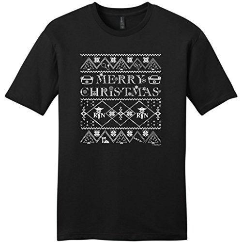 Ugly Christmas Sweater For Nurses Young Mens T-Shirt Large Black