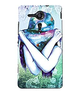 Fuson Colorful Scarf Girl Back Case Cover for SONY XPERIA SP - D3874