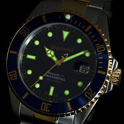 Gigandet Automatik Herren-Armbanduhr Sea Ground Taucheruhr Uhr Datum Analog Edelstahlarmband Blau Gold G2-001 5