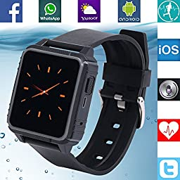 Banaus® B2 IP68 Waterproof Sport SmartWatch Heart Rate Monitor Bluetooth 4.0 Nano-SIM for Samsung S4/S5/S6/S7/Note3/Note4/Note5/Note6 HTC Sony LG Xiaomi Huawei ZUK iPhone 5/5C/5S/6/6S(Black)