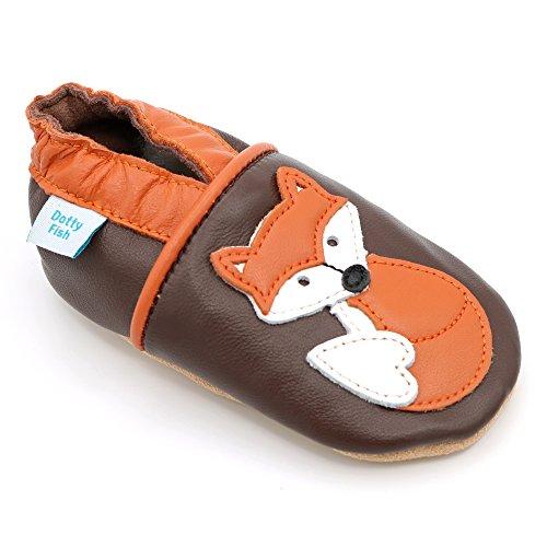 Dotty Fish - Scarpine in pelle prima infanzia - Ragazzi e Ragazza - Animali (6-12 Mesi, Marrone e arancio Fox)