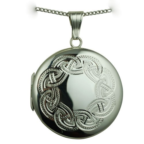 Silver 29mm celtic engraved round Locket with Curb chain 18 inches