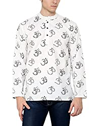 Veda Men Allover Aum Printed Kurta - White