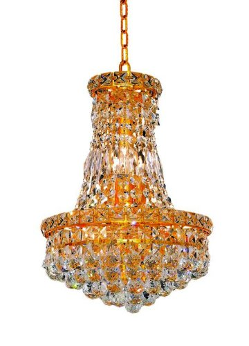 Elegant Lighting 2527D12G/Rc Tranquil 16-Inch High 6-Light Chandelier, Gold Finish With Crystal (Clear) Royal Cut Rc Crystal front-990051