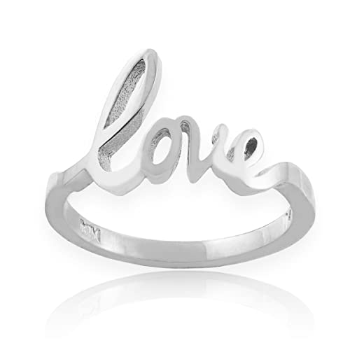 Solid 925 Sterling Silver High Polish Love Script Statement Ring