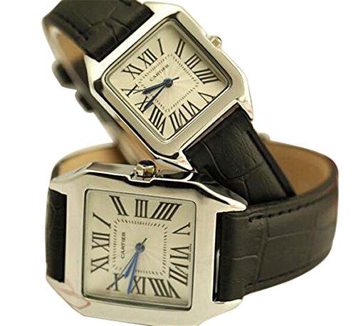 Scheppend Scheppend His and Her Fashion Roman Numerals White Dial Quartz Watches,Black