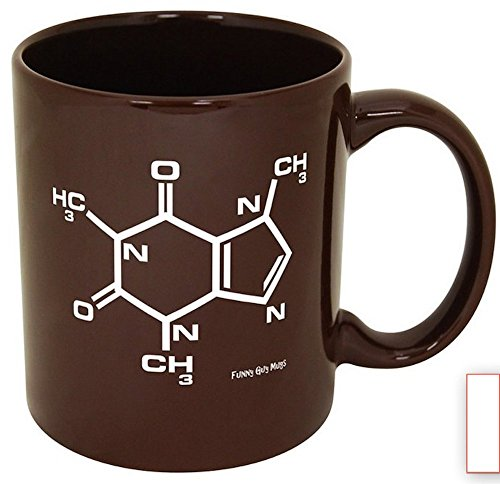 Funny Guy Mugs Caffeine Molecule Ceramic Coffee Mug, Brown, 11-Ounce (Coffee Beans Coffee Mug compare prices)
