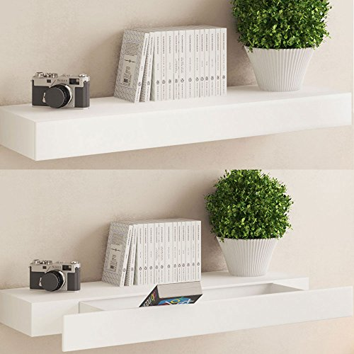White Floating Wall Shelf with Drawer , Concealed Mounting Bracket and Hardware Included, Ships Fully Assembled ...