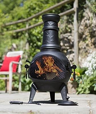Free Cover La Hacienda Leaf Design Chiminea 85cm Patio Heater Bbq Grill by la Hacienda