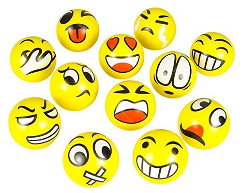 FUN Emoji Face Squeeze Balls- 12 ~ 3'' Stress Relax Emotional Toy Balls ~ Fun Office Holiday Gift ~ Stocking Stuffer ~ Gag Toy - 1
