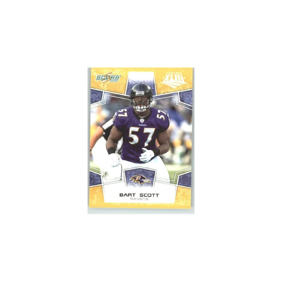2008 Donruss / Score Limited Edition Super Bowl XLIII Gold Border # 24 Bart Scott   Baltimore Ravens   NFL Trading Card in a Prorective Screw Down Display Case