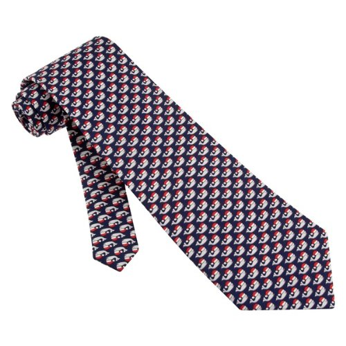 Christmas Whales Blue Silk Tie Necktie - Men's Animal Print Neck Tie