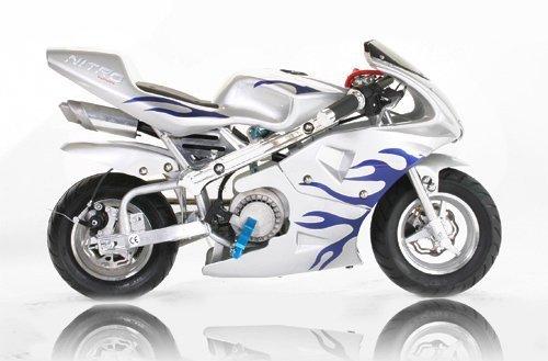 Pocket-Bike-PS77-49cc-Kinderbike-Rennbike-Dirtbike-Mnibike-Silber-Blau-Flamme
