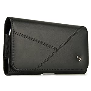 Black Luxmo Stitched Leather Belt Clip Holster Carrying Case for Spice Mi-430