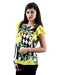Envy Women's Georgette Round Neck Tops (03620YELLOWNA, Yellow, Free Size)