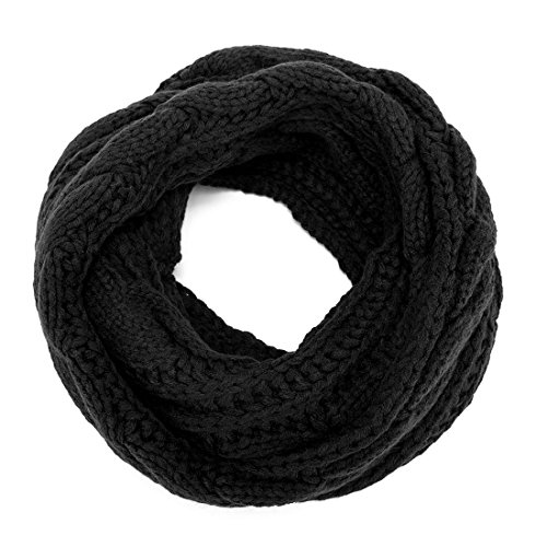 ALLMILL Womens Thick Ribbed Knit Winter Infinity Circle Loop Scarf (Black)