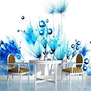 Blue dandelions on white wallpaper mural for Amazon mural wallpaper