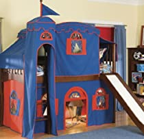 Hot Sale Bolton 9921600LT6BR Mission Cherry-Bottom Low Loft Bed with Ladder Curtain/Top Tent/Tower/Slide, Blue/Red