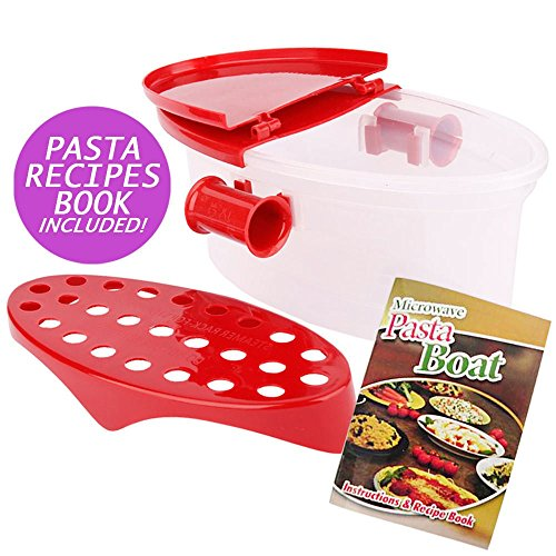 Hot Pasta Boat | Versatile Microwave Pasta Cooker Vegetable Steamer Boat Strainer with Recipe Book | Sturdy Food Grade Heat Resistant PP Material | Effortless Usage Anti Mess No Stick Colander | Massive Capacity Up To 5 Pound | Vibrant Red (Microwave Pasta Cooker compare prices)