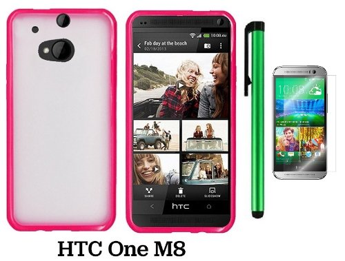 Htc One M8 Premium Transparent Clear Composite Material Back Cover Case (For 2014 Htc New Flagship Android Phone) + Screen Protector Film + 1 Of New Assorted Color Metal Stylus Touch Screen Pen (Pink Tpu Edge With Clear Plastic Middle)