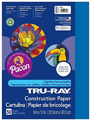 "Tru-Ray Construction Paper, 9""X12"", Blue, 50 Sheets - 1"