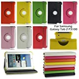 LENOGE New 360 Degrees Rotating Case Cover With Stand for Samsung Galaxy Tab 2 7.0 P3100 P3110 Tablet PC 16G 32G WIFI 3G (PU Leather, Style 2, Red)