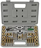 Neiko® 00911A SAE Tap and Hexagon Die Set, Titanium Coated | 40-Piece Set