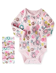 5 Pack Pure Cotton Floral Bodysuits
