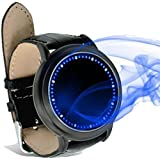 Digital Family Abyss Tron Blue & White Japanese Style Inspired LED Touchscreen Watch - Uber Cool All Black Design