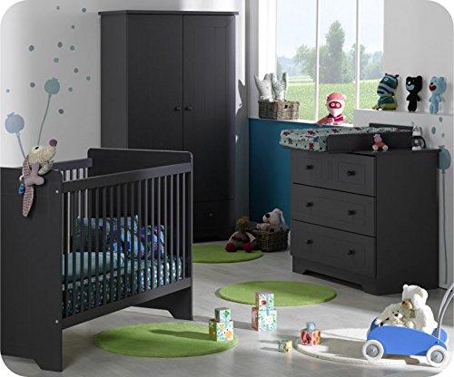 Babyzimmer komplett Oslo Anthrazit-grau mit Wickelfläche jetzt bestellen
