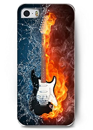 Ouo Stylish Series Case For Iphone 5 5S 5G With The Design Of An Electricity Guitar With Fire And Water