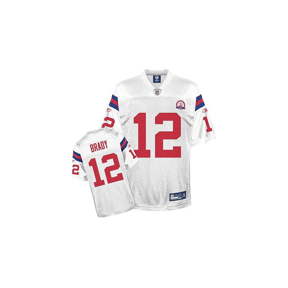 b38775d67 Reebok Tom Brady New England Patriots White AFL 50th Anniversary Jersey Size  50