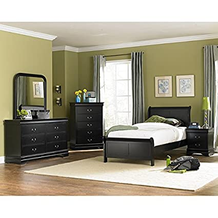 Marianne Youth Sleigh Bedroom Set (Black) Full