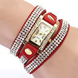 Women's Vintage Square Dial Rhinestone Weave Wrap Leather Bracelet Wrist Watch