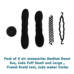 Homeoculture set of 5 different hair accessories Medium donut, braider tool , magic puff small and large and curling essentials