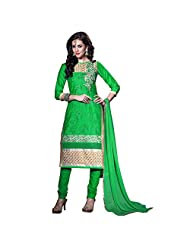 Fresh Light Green Cotton Embroidered Salwar Suit With Hand Work
