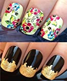 WATER DECALS NAIL TRANSFERS STICKERS! #213 PLUS GOLD LEAF SHEET FOR CUSTOM DESIGNED NAIL! ANIMAL PRINT FLOWERS BOWS LACE FRENCH TIPS WRAP & 24KT GOLD LEAF! CAN BE USED WITH NATURAL GEL ACRYLIC STICK ON NAILS! USE WITH GLITTER DUST CAVIAR BEADS ALLOYS DEC