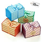 Hayley Cherie - Gift Treat Boxes with Ribbons and Thank You Stickers (20 Pack) - 6.5 x 4 x 4 inches - Thick 400gsm Card - For Cookies, Goodies, Candy, Parties, Christmas, Birthdays, Weddings (Printed) (Color: Printed)