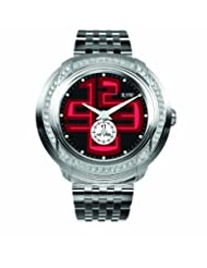 RSW Men's 9130.BS.S0.14.F1 Volante Diamond Black and Red Dial Sub-second Luminous Stainless Steel Bracelet Watch