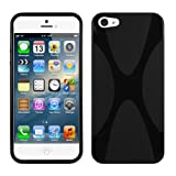 MiniSuit X Shape Case for iPhone 5 - TPU Silicone Skin Cover (Black)