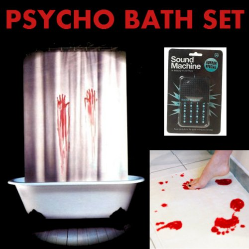 Shower curtain bath sets archives shower curtains outlet for Psycho shower curtain and bath mat