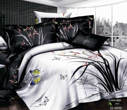 Queen Size 100% Cotton 4-Pieces 3D Flowers Floral Black And White Butterflies Prints Duvet Cover Set/Bed Linens/Bed Sheet Sets/Bedclothes/Bedding Sets/Bed Sets/Bed Covers/5-Pieces Comforter Sets (5) front-1016205
