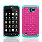 For Huawei Tribute 4G LTE Y536A1 / Huawei Fusion 3 Case (AT&T Go Phone), Defender Bling Hybrid Gel Protector Diamond Hybrid - Lifetime Warranty Cover (HOT PINK ON TEAL SKIN DIAMOND HYBRID)
