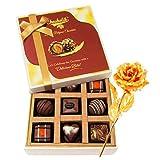 Enjoyable Collection Of Delightful Chocolates With 24k Gold Plated Rose - Chocholik Luxury Chocolates