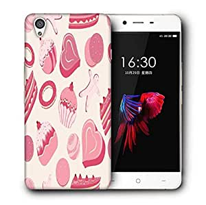 Snoogg Pink Cakes Pattern Printed Protective Phone Back Case Cover For OnePlus X / 1+X